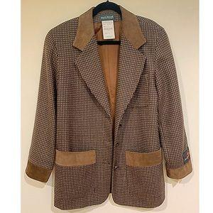 Harve Benard brown plaid tweed boyfriend blazer